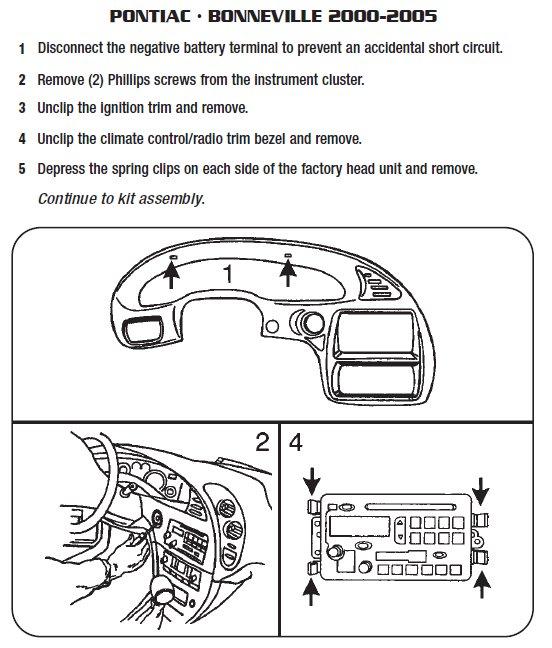 Pontiac Bonneville 2000 2005 stereo removal installation rotom canada capacitor wiring diagram