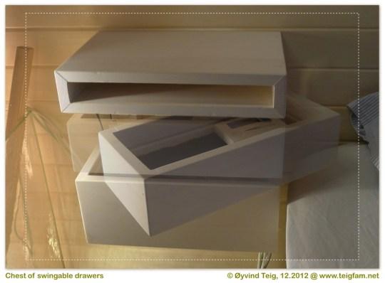 Chest of swingable drawers