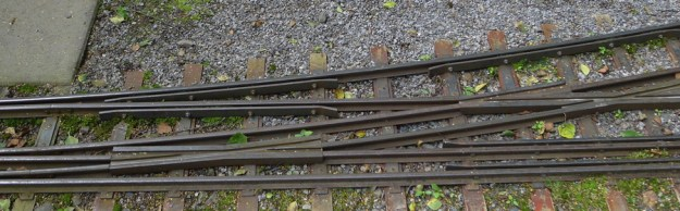 Dual gauge rail (146 and 178mm) at The Railway Museum at Hamar (Jernbanemuseet) with Minitoget Knertitten