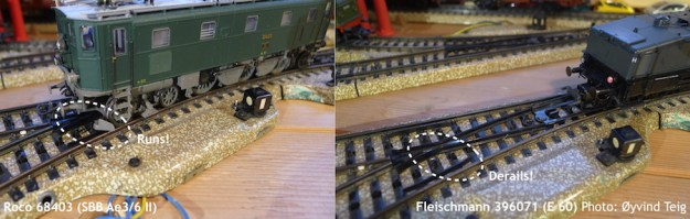Fleischmann 396071 derailment on Märklin M-track