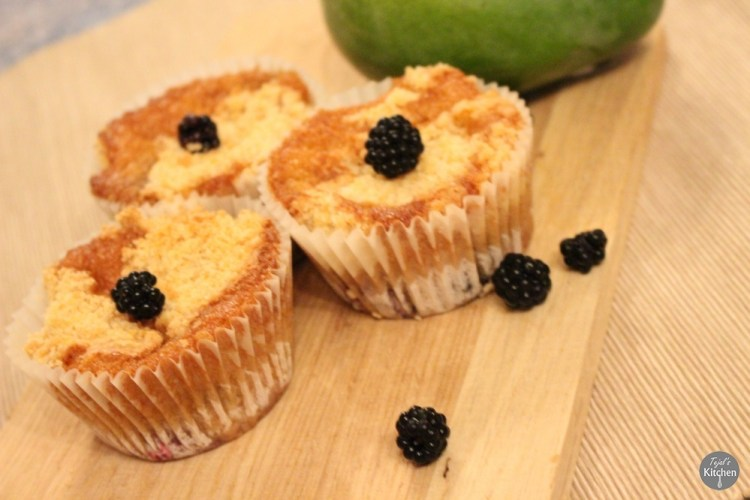 Mango Blackberry Cumble Muffins