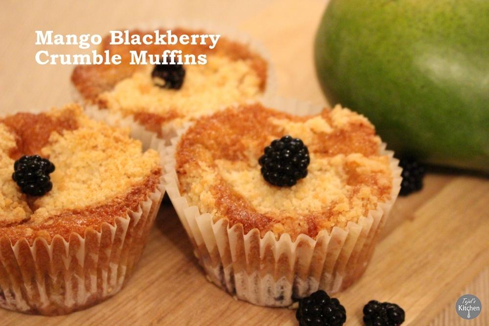 Mango Blackberry Crumble Muffins