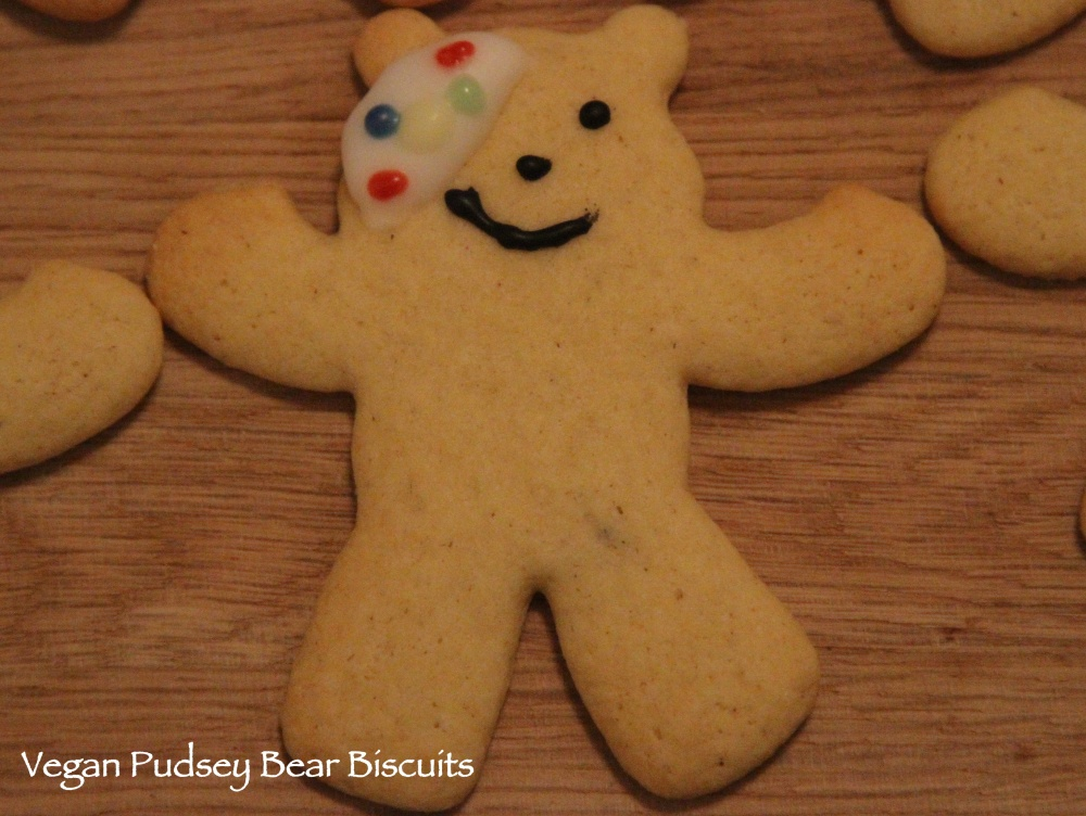 Vegan Pudsey Bear Biscuits