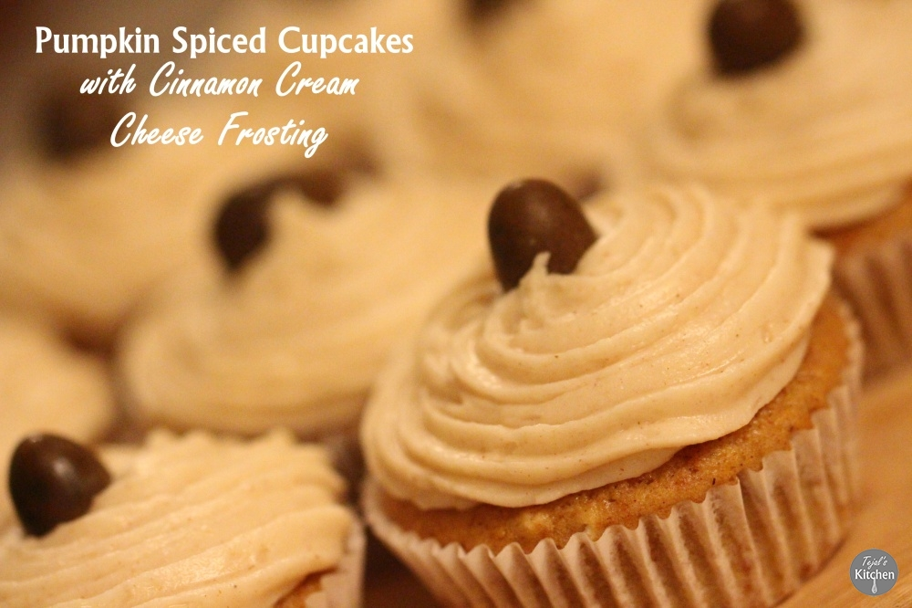 Pumpkin Spiced Cupcakes with Cinnamon Cream Cheese Frosting