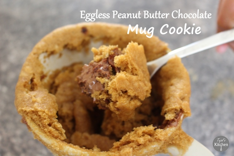 Mug Monday – Peanut Butter Chocolate Mug Cookie (Eggless)