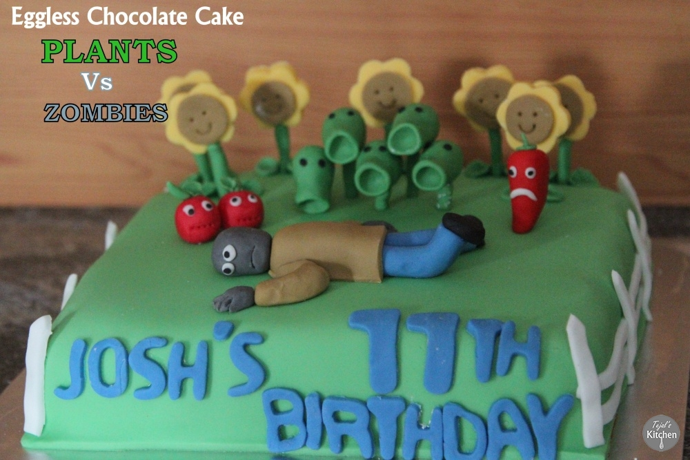Plants Vs Zombies Eggless Chocolate Cake