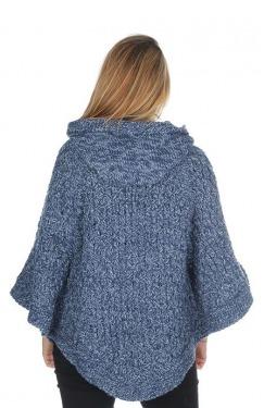 Poncho grey blue model2