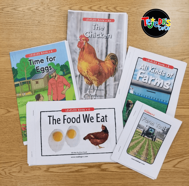 Farm books from Reading A to Z for our farm unit. #tejedastots #farmactivities