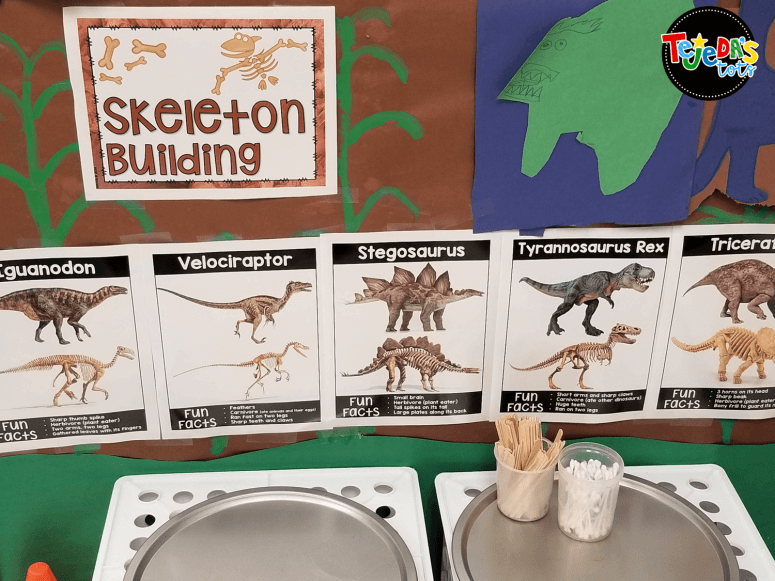 Students were paleontologists at our dino dig center! They made and studied fossils, then made inferences and wrote about them. They also measured dinosaurs and built dinosaur models. Our fun even included erupting a volcano! Part of our fun dinosaur unit. Read this blog post for more ideas! #tejedastoss