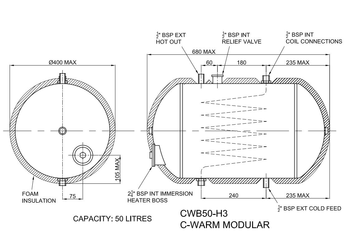 C Warm Water Storage Heater 50 Litres