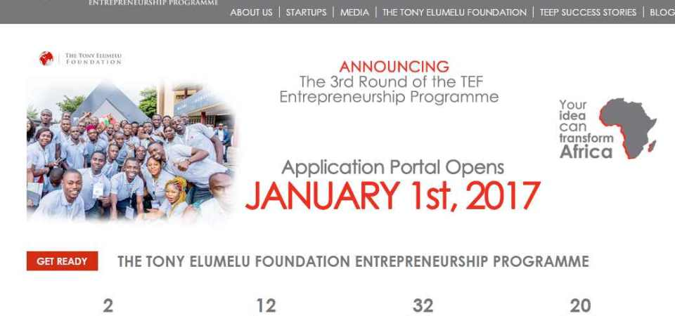 Tony Elumelu Entrepreneurship Programme (TEEP) Enters Season III; Apply Jan 1 2017