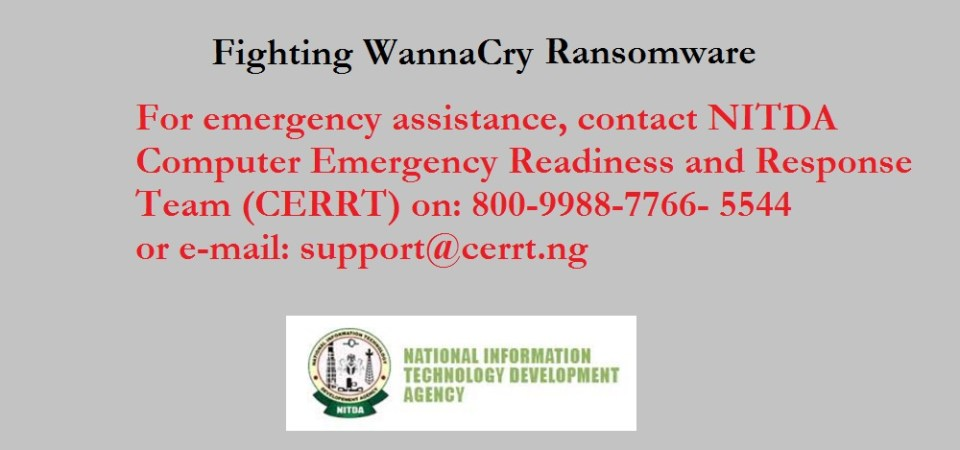 NITDA Issues Guidelines / Phone Lines For Nigerians On WannaCry Ransomware Virus Protection