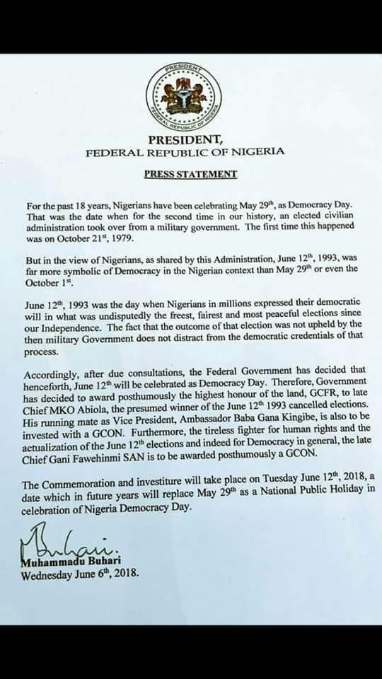President Buhari's letter