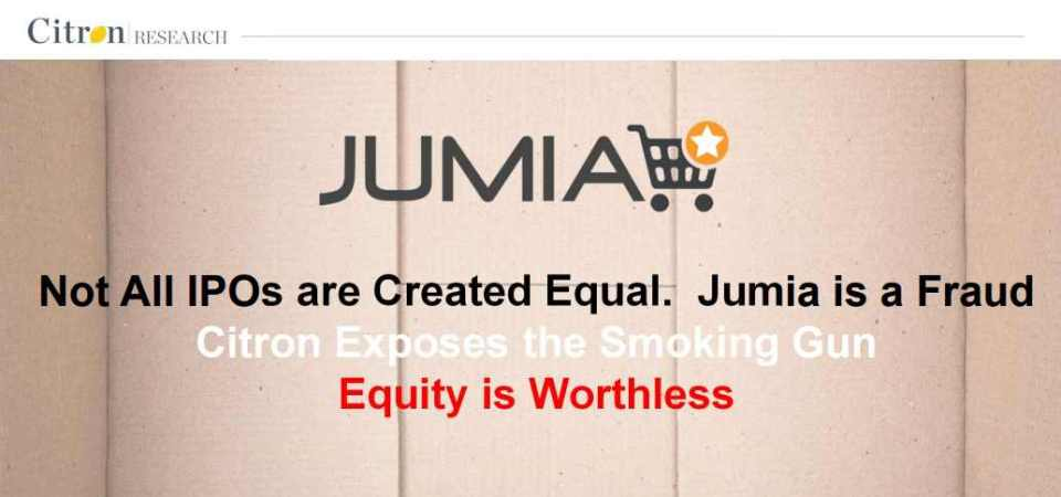 "Citron Research Calls Jumia a ""Fraud"", Stock Drops [Download the Report]"
