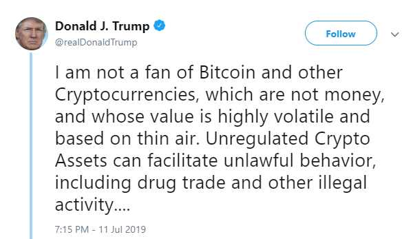 The President Trump's Tweet on Facebook Libra, Bitcoin and cryptocurrency