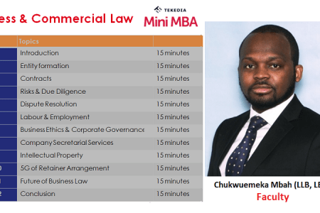 Meet Tekedia Mini-MBA Faculty for Business & Commercial Law: Chukwuemeka Mbah