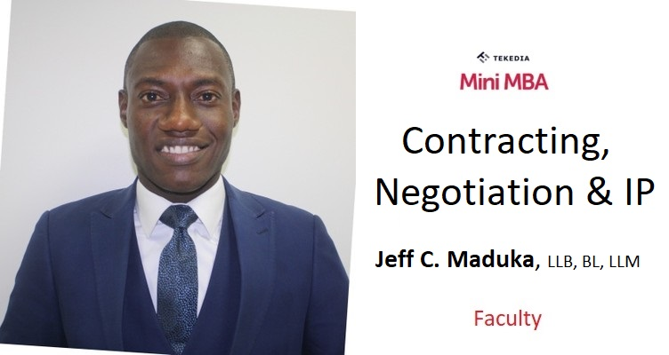A Seasoned Lawyer to Lead Contracting, Negotiation and IP Session in Tekedia Mini-MBA