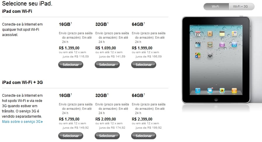novos preços ipad