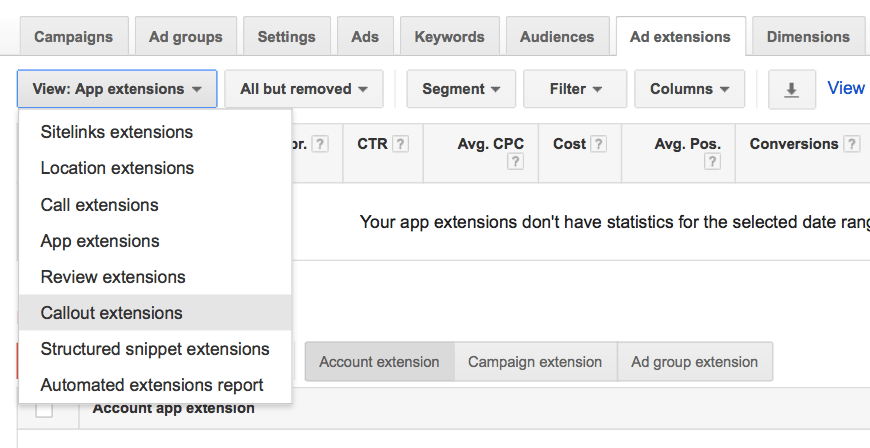 Callout AdWords Extension Guide - 1 View App Extensions