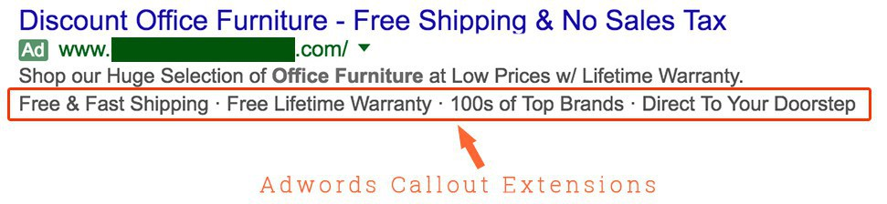 Callout AdWords Extension Guide - Discount Office Furniture Example
