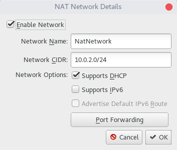 Screenshot Edit nat networks
