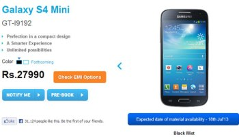 Samsung Galaxy S4 Mini on Pre-order in India