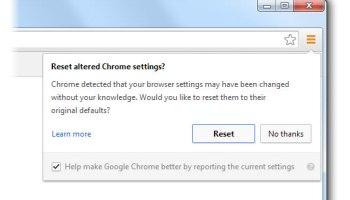 Google Chrome Settings Reset feature