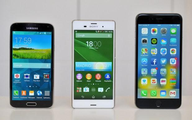 Samsung Galaxy S5, Sony Xperia Z3 y iPhone 6 Plus
