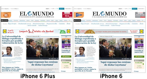 comparativa iphone 6 - iphone 6 plus