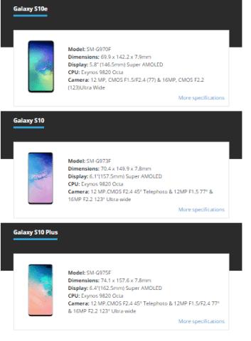 Galaxy S10e, S10 ve S10+