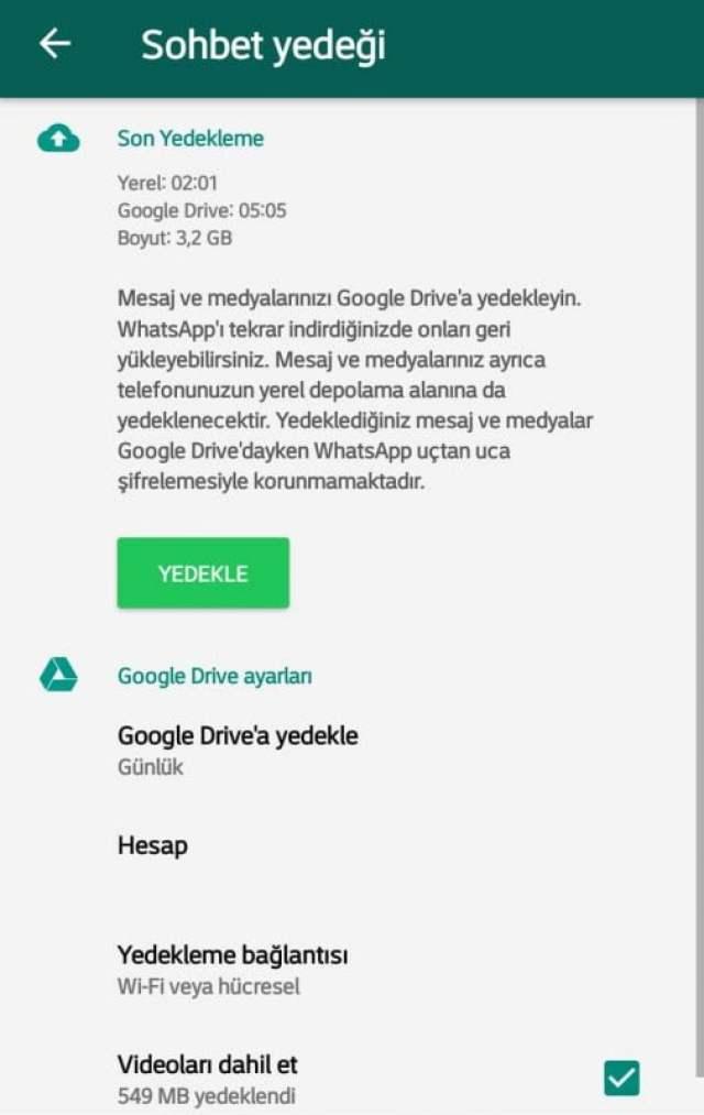 Whatsapp Sohbet Yedeği