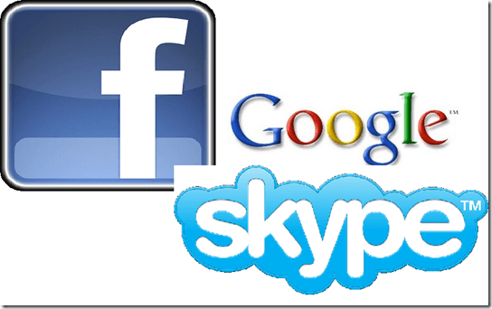 facebook skype google