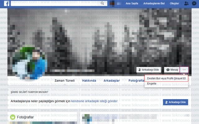 facebook,şikayet et,uygunsuz şeyler paylaşıyor,sahte hesap,birisini taklit ediyor,sahte ad