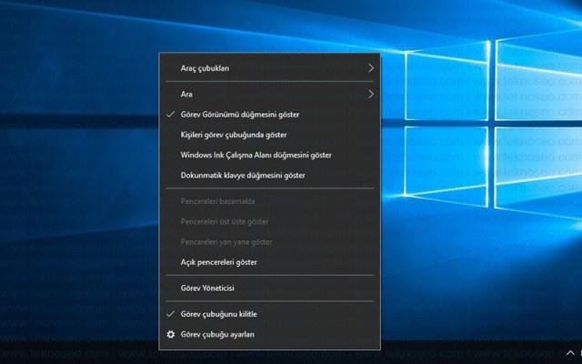 windows 10,görev çubuğu,ara simgesi,araç çubukları,sistem simgeleri