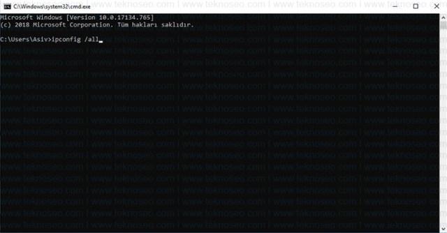 windows,ethernet,wireless,mac adresi,fiziksel adres