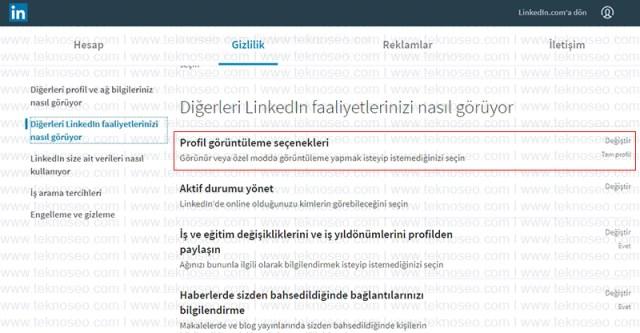 linkedin,özel mod,anonim,profilimi kimler görüntüledi