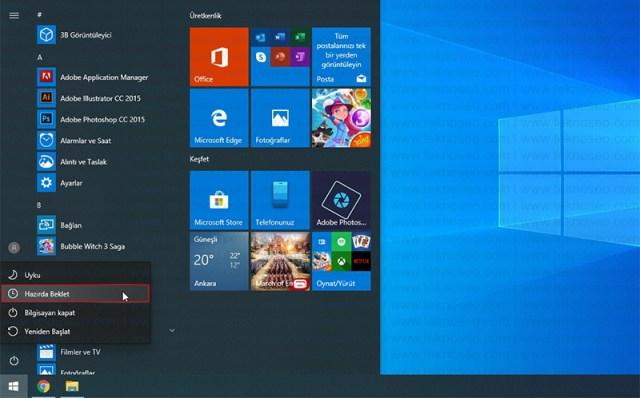 windows 10,hazırda beklet,başlat menüsüne hazırda beklet ekleme