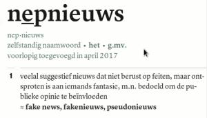 Online Van Dale, nieuw woord, nepnieuws, 2017