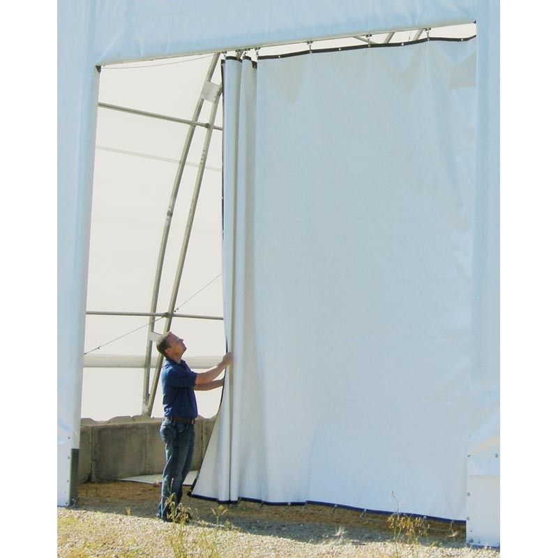 75 Oz Custom Tarps Wgrommets Draw Curtain Fabric Room Divider SilverWhite TekSupply