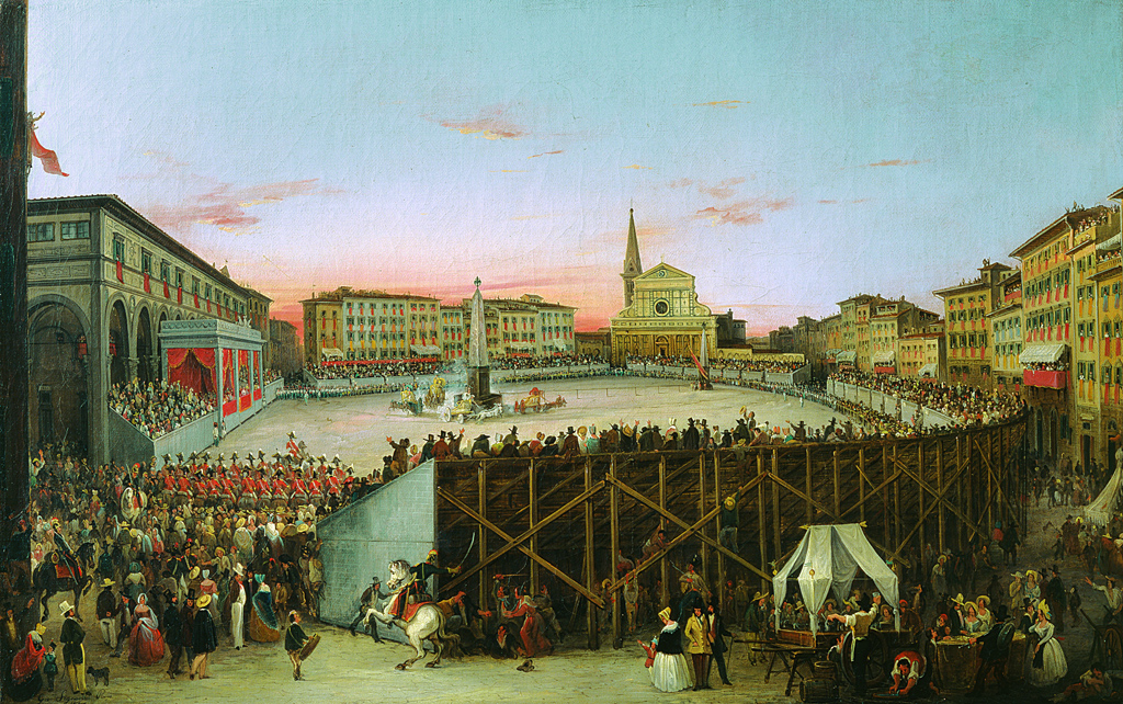 Palio dei Cocchi - Giovanni Signorini (Florence 1808-1862) The Palio dei Cocchi in Santa Maria Novella, 1844, oil on canvas