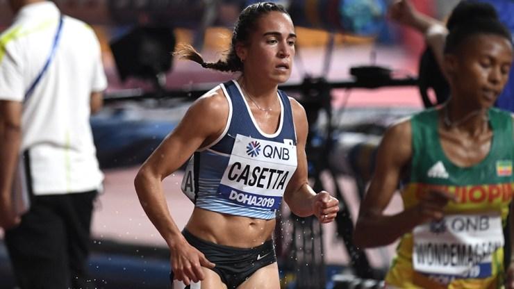 Belén Casetta (3000 mts con obstáculos), una de los cinco representantes argentinos del atletismo.