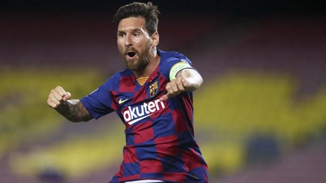 Messi y el festejo de su último gol ante el Nápoli, una imagen que se verá por un tiempo más, al menos hasta que decida su futuro