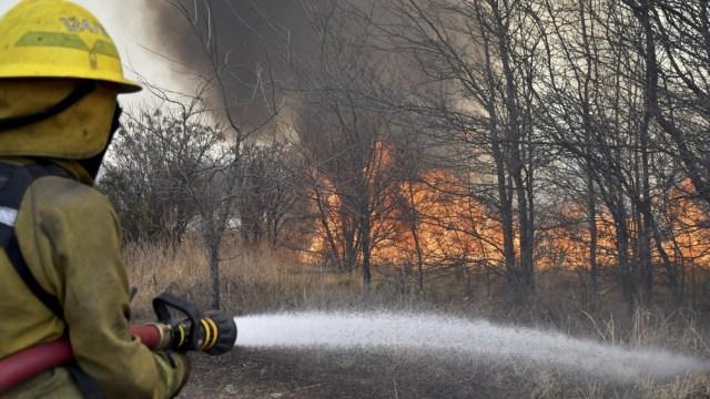El Gobierno de Córdoba informó que siete dotaciones de bomberos combaten el incendio forestal.