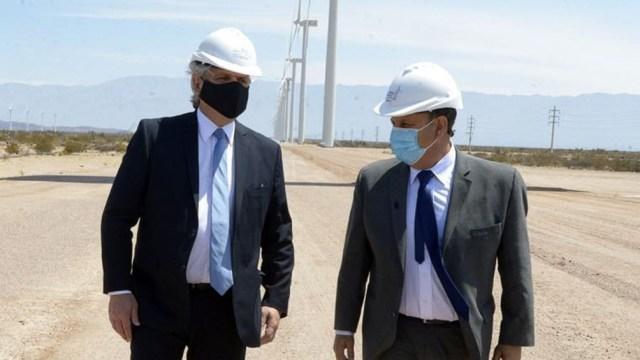 El Presidente y su comitiva oficial visitaron el Parque Eólico Araujo Sapem, inaugurado en 2010 con desarrollo e ingeniería nacional.