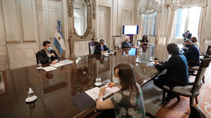 De la reunión participaron Santiago Cafiero; Ginés González García; Agustín Rossi; Eduardo de Pedro; y Sabina Frederic.