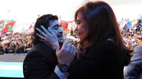 Diego Maradona y Cristina Fernández de Kirchner.