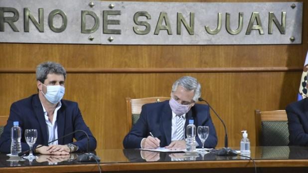 Alberto Fernández dio una conferencia de prensa junto al gobernador Sergio Uñac,