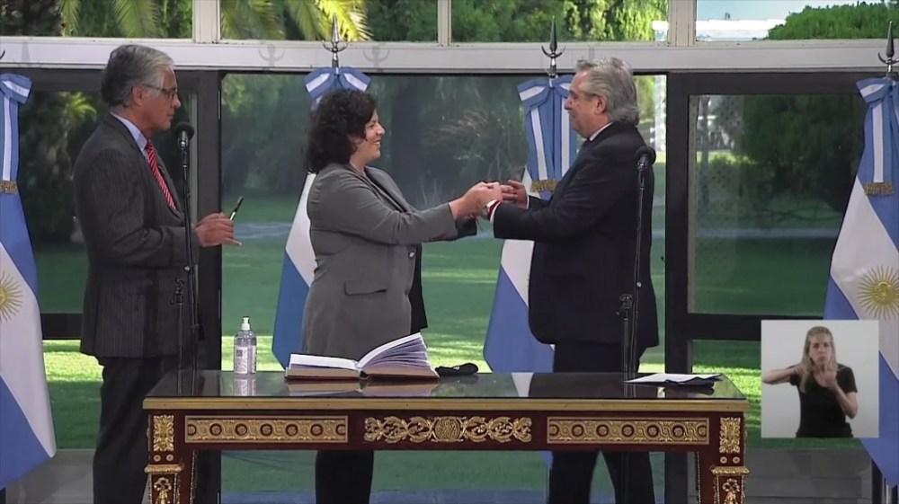 El Presidente y la nueva ministra.