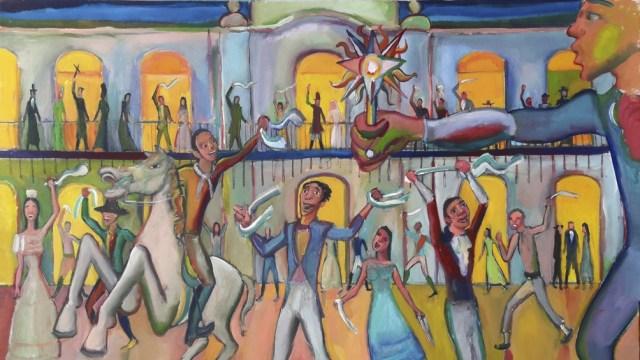 """""""24 de mayo de 1810, la noche previa a la revolución """", acrílico sobre lienzo de 95 x 130 cm. Obra de Diego Manuel Rodríguez (2018)."""