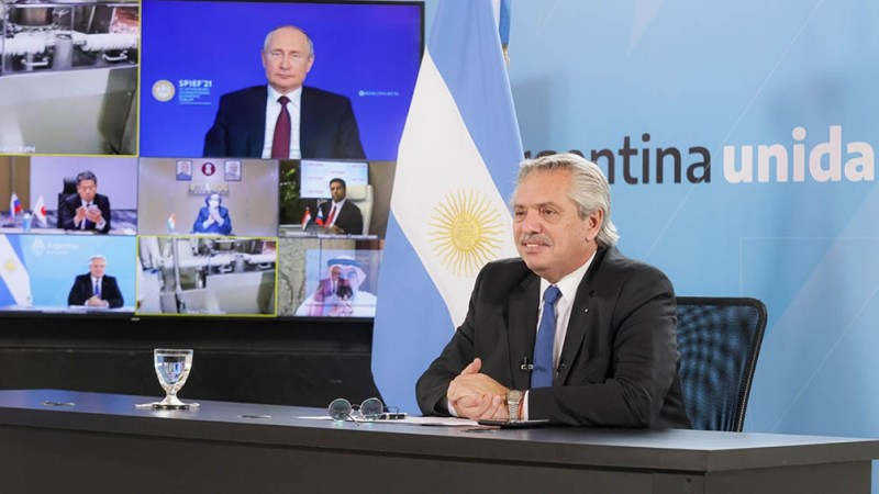 Alberto Fernández, en la videoconferencia con Vladimir Putin.